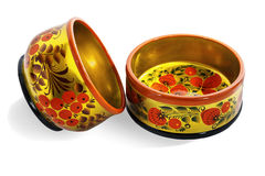 Two wooden  bowls, painted in the style of Khokhloma Royalty Free Stock Image