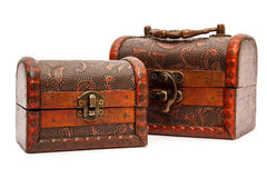 Two wooden boxes Stock Images