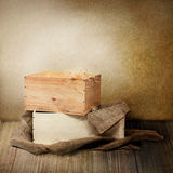 Two wooden boxes wit burlap Stock Photos