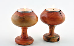 Two wooden candlesticks Stock Photo