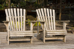 Two wooden chair royalty free stock photos