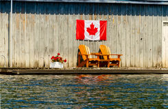Two wooden chair on a dock Royalty Free Stock Photography