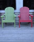 Two wooden chairs Stock Photos