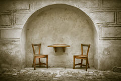 Free Two Wooden Chairs And Table Stock Photography - 34174232