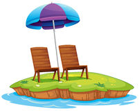 Two wooden chairs in the island Stock Photo