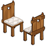 Two wooden chairs with soft seats Stock Image