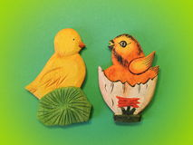 Two wooden chicken. Easter decorations stock photos