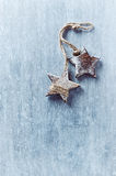 Two wooden Christmas stars Royalty Free Stock Images