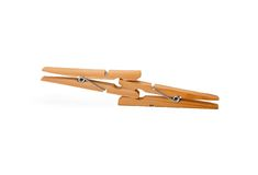 Two wooden clothespin Stock Photography