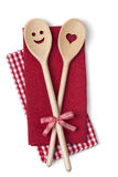 Two wooden cooking spoons Stock Photo