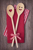 Two wooden cooking spoons Royalty Free Stock Images