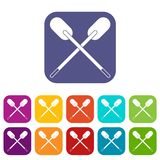 Two wooden crossed oars icons set flat Stock Photo