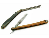 Two wooden cutthroat razors Stock Photography