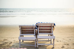 Two wooden deckchairs Stock Photos