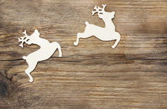 Two wooden deers Royalty Free Stock Images