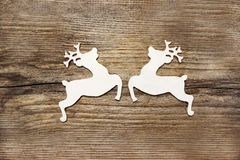 Two wooden deers Stock Images
