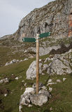 Two wooden directional signs on a pole Royalty Free Stock Photo