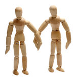 Two wooden doll in love Royalty Free Stock Photography