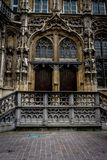 Two wooden doors with beautiful arch above them on the streets o. F Ghent, Belgium, Europe Royalty Free Stock Images
