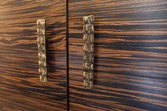 Two wooden drawers with rustic metal handles Royalty Free Stock Images