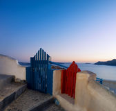 Two wooden fence gates in Oia on Santorini island, Greece. royalty free stock photography