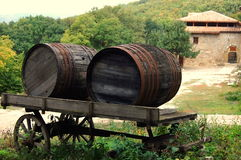 Two wooden fire barrels in a cart. Stock Photo