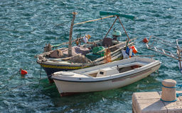 Two wooden fishing boats Royalty Free Stock Photo