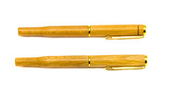 Two wooden fountain pens  on white Royalty Free Stock Image