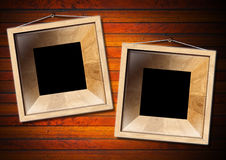 Two Wooden Frame on a Old Wood Wall Stock Photography
