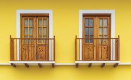 Colonial Style Balcony Windows in Cuenca, Ecuador stock image