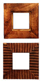 Two wooden frames. Objects isolated over white Stock Photos
