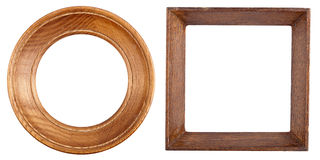 Two wooden frames. Isolated on white background Royalty Free Stock Images