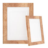 Two wooden frames isolated on white background Stock Photo