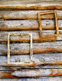 Two wooden frameworks on an ancient timbered wall Royalty Free Stock Images