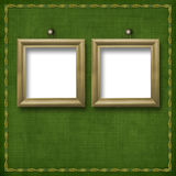 Two wooden frameworks for portraiture. On the abstract background Royalty Free Stock Images