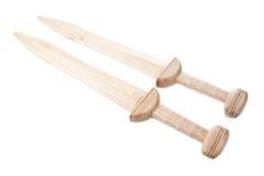 Two wooden gladius swords Stock Image