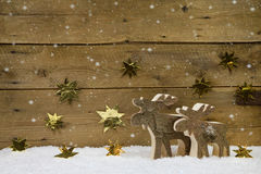 Two wooden handmade reindeer on a background with golden stars a Stock Images