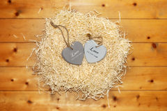 Two wooden heart in a hot love nest Royalty Free Stock Image