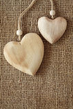 Two wooden hearts Stock Photo