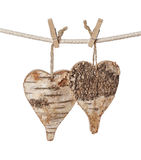 Two wooden hearts Royalty Free Stock Images