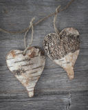 Two wooden hearts Royalty Free Stock Photography