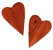 Two wooden hearts Stock Photos