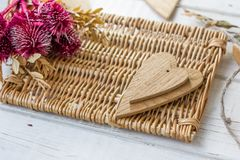 Two wooden hearts - big and small. One Stock Photography