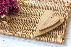 Two wooden hearts - big and small. One Stock Images