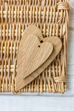 Two wooden hearts - big and small. One Stock Photo