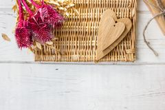 Two wooden hearts - big and small. One Stock Image