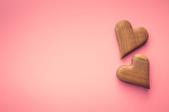 Two wooden hearts. Stock Photo