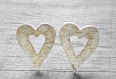 Two wooden hearts for valentines day. Stock Photo