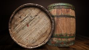 Textured wooden and iron brewery barrel - clipping path. Two wooden and iron brewery barrel from front isolated with clipping path stock photos