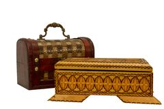 Two  wooden jewelry boxes Royalty Free Stock Photos